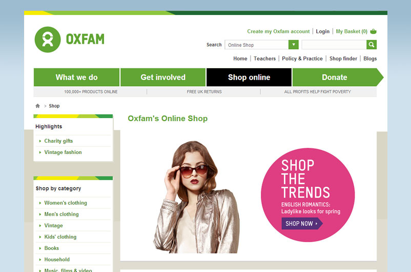 Oxfam online shop charity shopping from home real gifts for Online shopping for the home